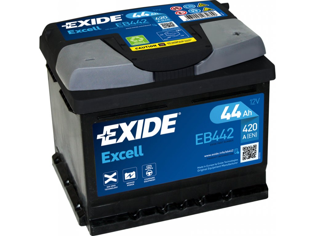 Autobaterie EXIDE Excell 44Ah, 420A, 12V, EB442
