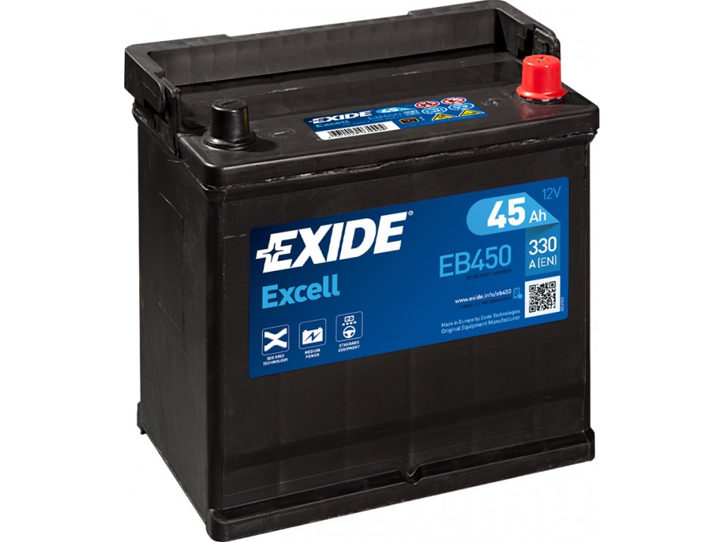 Autobaterie EXIDE Excell 45Ah, 330A, 12V, EB450