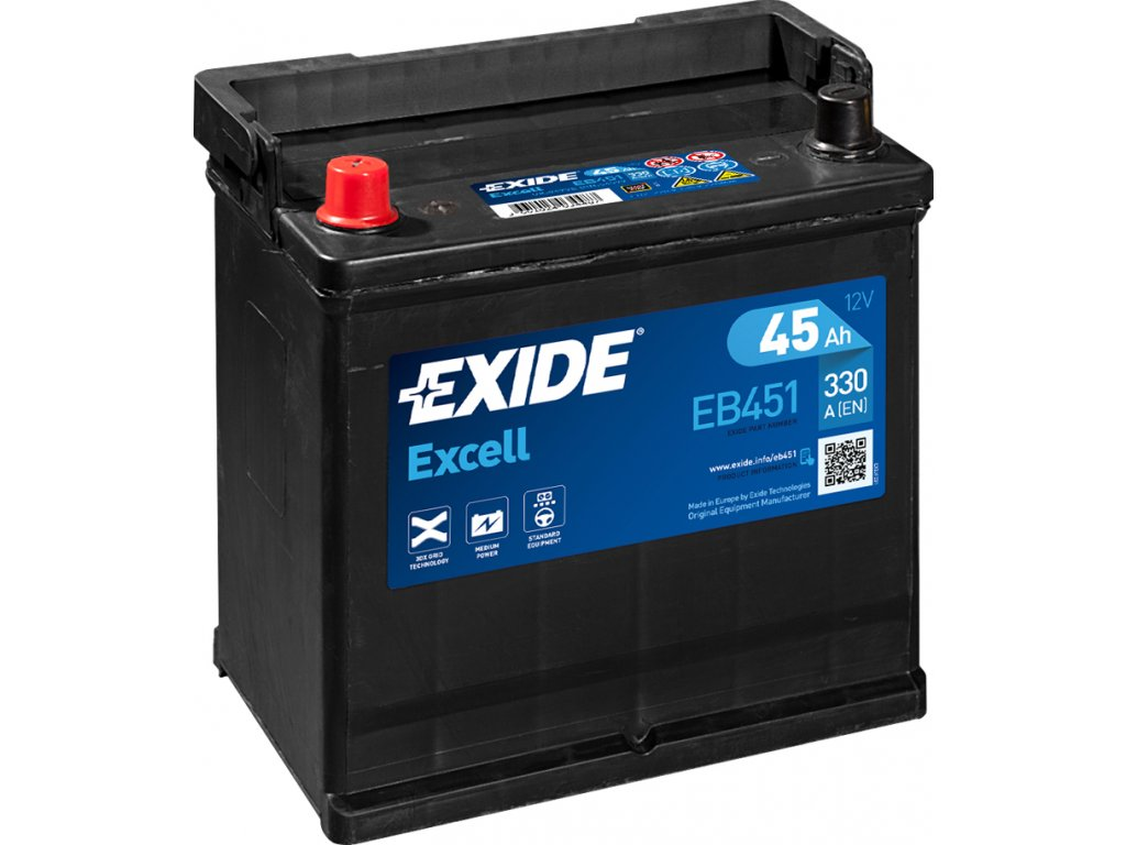 Autobaterie EXIDE Excell 45Ah, 330A, 12V, EB451