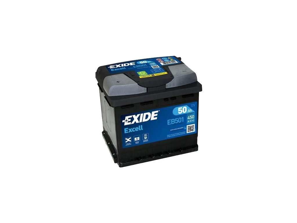 Autobaterie EXIDE Excell 50Ah, 450A, 12V, EB501