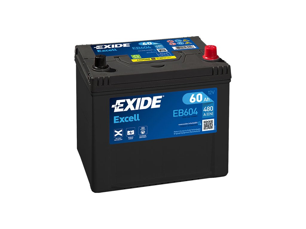 Autobaterie EXIDE Excell 60Ah, 390A, 12V, EB604