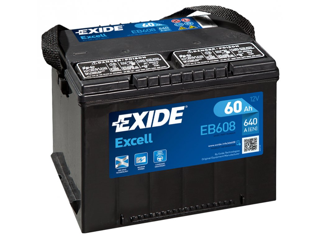 Autobaterie EXIDE Excell 60Ah, 640A, 12V, EB608