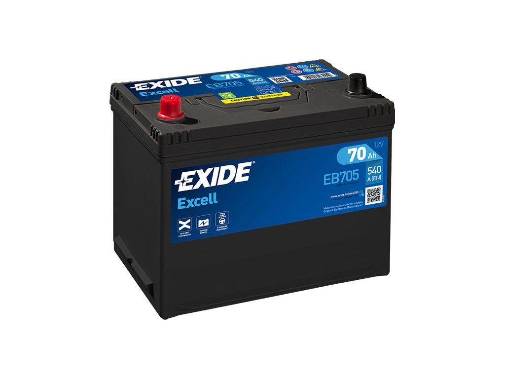 Autobaterie EXIDE Excell 70Ah, 540A, 12V, EB705