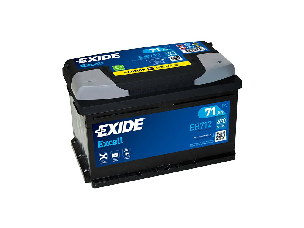 Autobaterie EXIDE Excell 71Ah, 670A, 12V, EB712