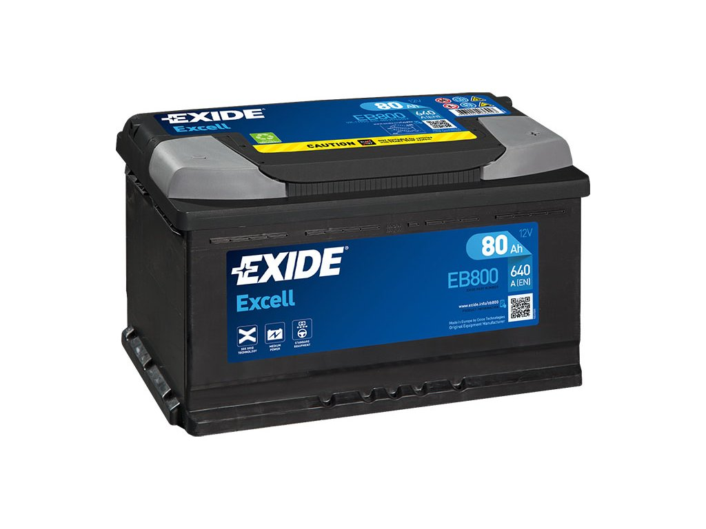 Autobaterie EXIDE Excell 80Ah, 700A, 12V, EB800