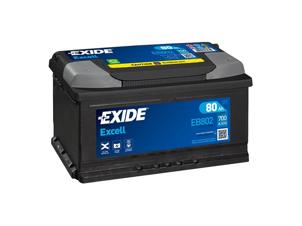 Autobaterie EXIDE Excell 80Ah, 700A, 12V, EB802