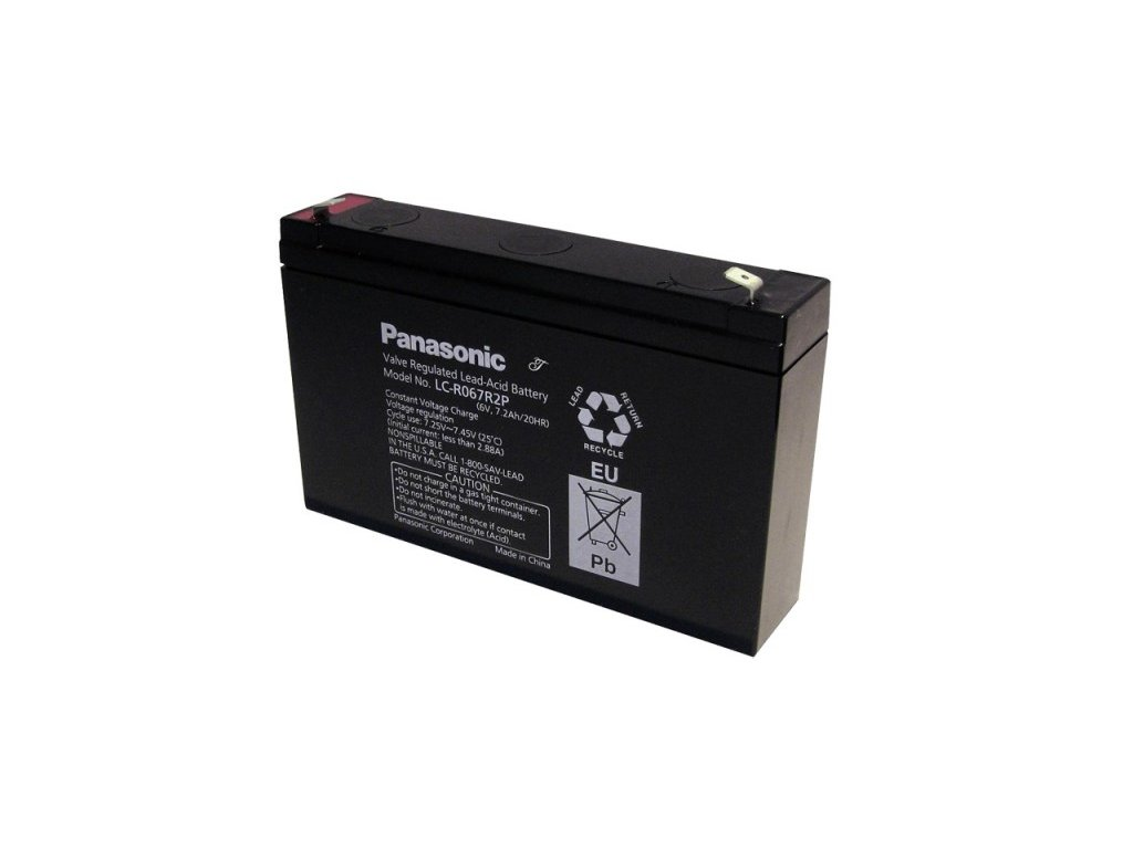 Panasonic LC-R067R2P, 6V - 7.2Ah, záložní baterie