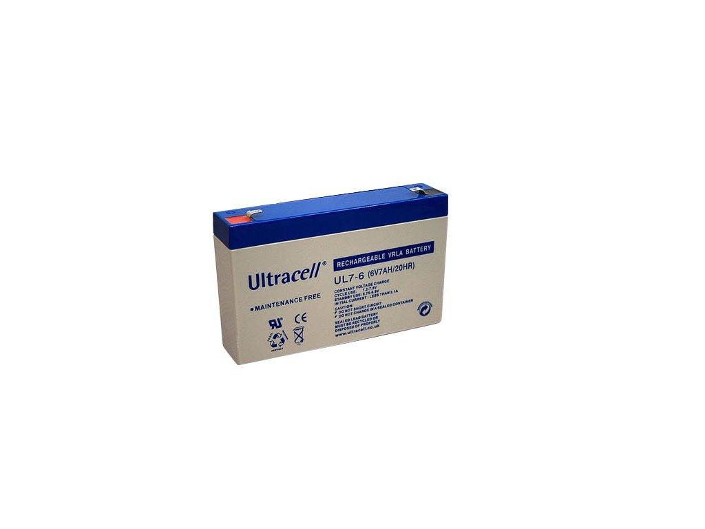 Ultracell UL7-6 (6V - 7Ah), VRLA-AGM záložní baterie