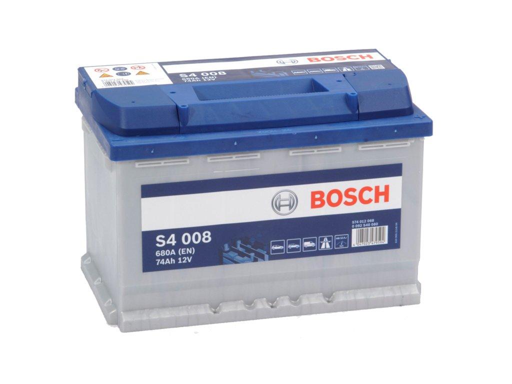 Autobaterie BOSCH S4 008, 74Ah, 12V (0 092 S40 080)