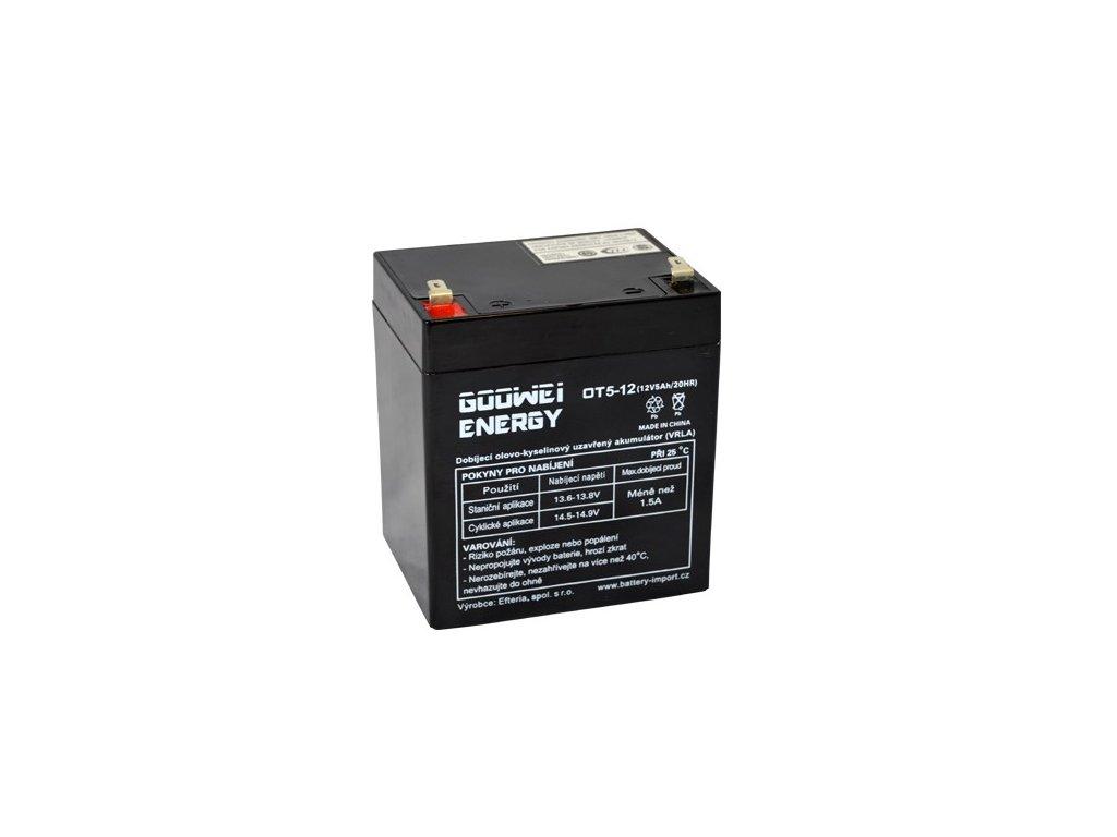 Staniční (záložní) baterie GOOWEI ENERGY OT5-12 F2, Faston 6.3mm 5Ah,12V ( VRLA )
