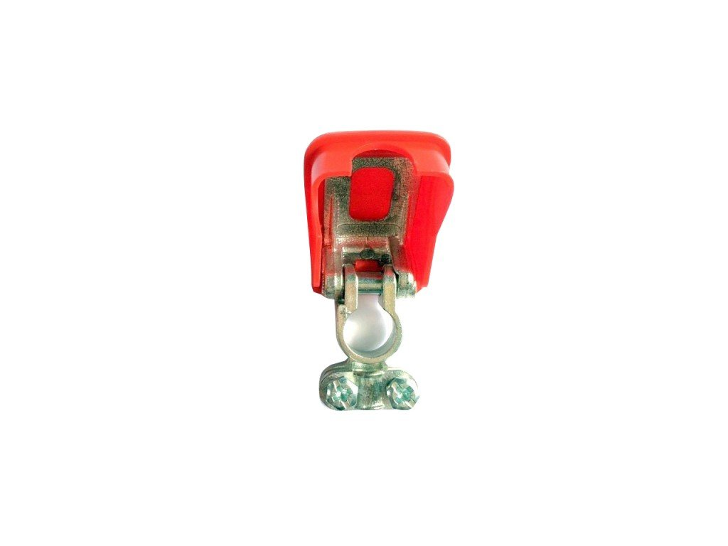 Akusvorka rychloupínací - lisovací samosvorná, červená, pro plus pól