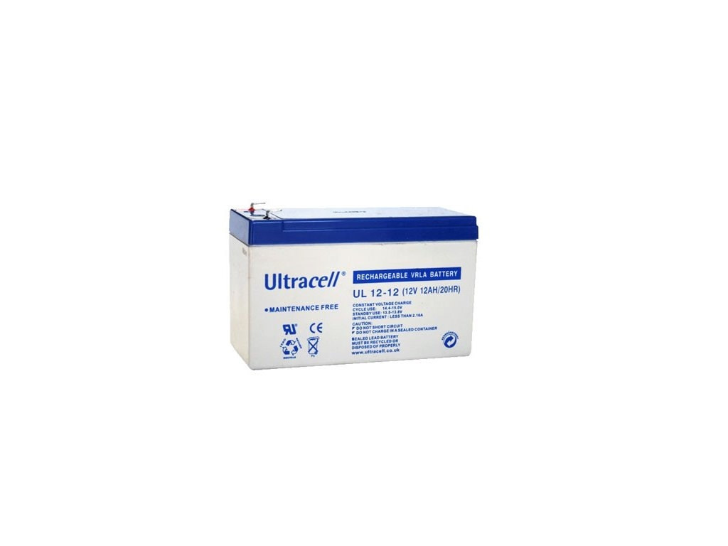 Ultracell UL12-12 F1 (12V - 12Ah), VRLA-AGM záložní baterie
