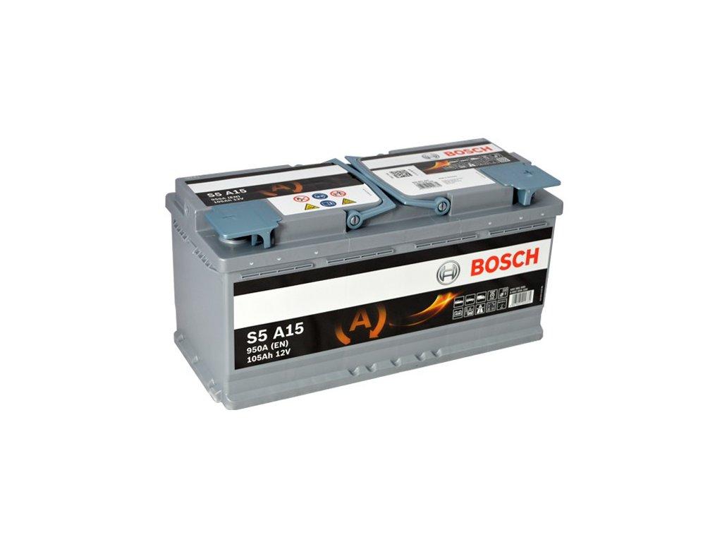 Autobaterie BOSCH S5A 150, 105Ah, 12V, AGM (0 092 S5A 150)
