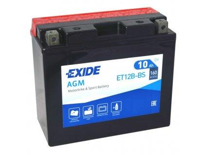 Motobaterie EXIDE ET12B-BS, 12V, 10Ah, 160A