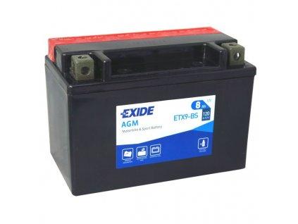 Motobaterie EXIDE ETX9-BS, 12V, 8Ah, 120A