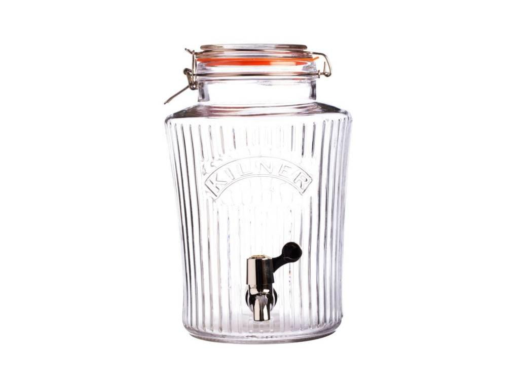 Kilner skleněný nápojový automat s kohoutkem 8,0 l fazetový design
