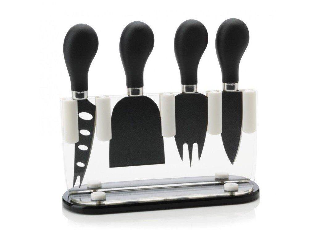 Maxwell&Williams  SLICE & DICE sada 4 nožů na sýr ve stojanu, černé
