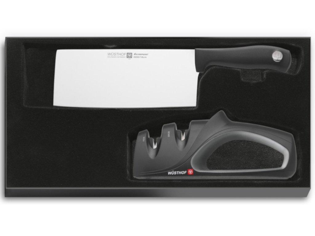 Čínský kuchařský nůž + brousek Solingen Wüsthof Silverpoint