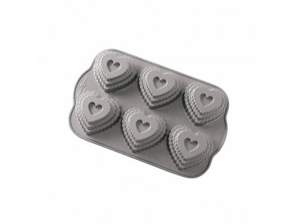 Nordic Ware Vrstvené srdíčko plát se 6 formičkam stříbrná