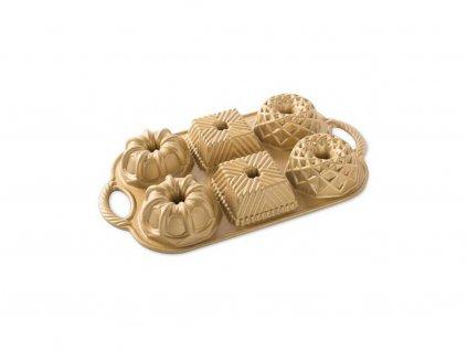 Nordic Ware Forma na malé bábovky 3 tvary plát, zlatá