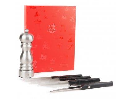 Peugeot Dárkový set mlýnku na pepř Paris Chef 18 cm a 4 nože Paris Bistro steak