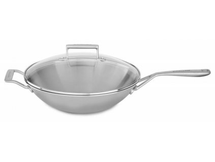 KitchenAid Nerezový wok s poklicí třívrstvý 33 cm