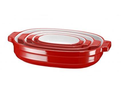 KitchenAid Keramické pekáče 4 ks, královská červená