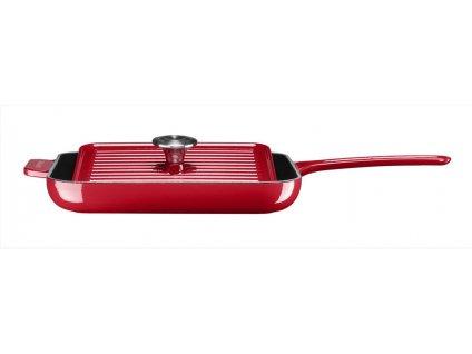 KitchenAid Litinová pánev s poklicí gril & panini 24 cm, královská červená