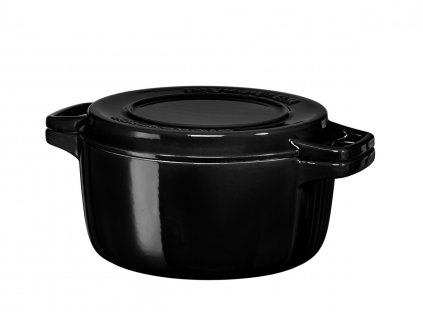 KitchenAid Litinový hrnec s poklicí 3,8 l, 24 cm, černá