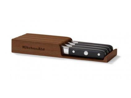 KitchenAid steakové nože, dřevěný úložný box, 4ks