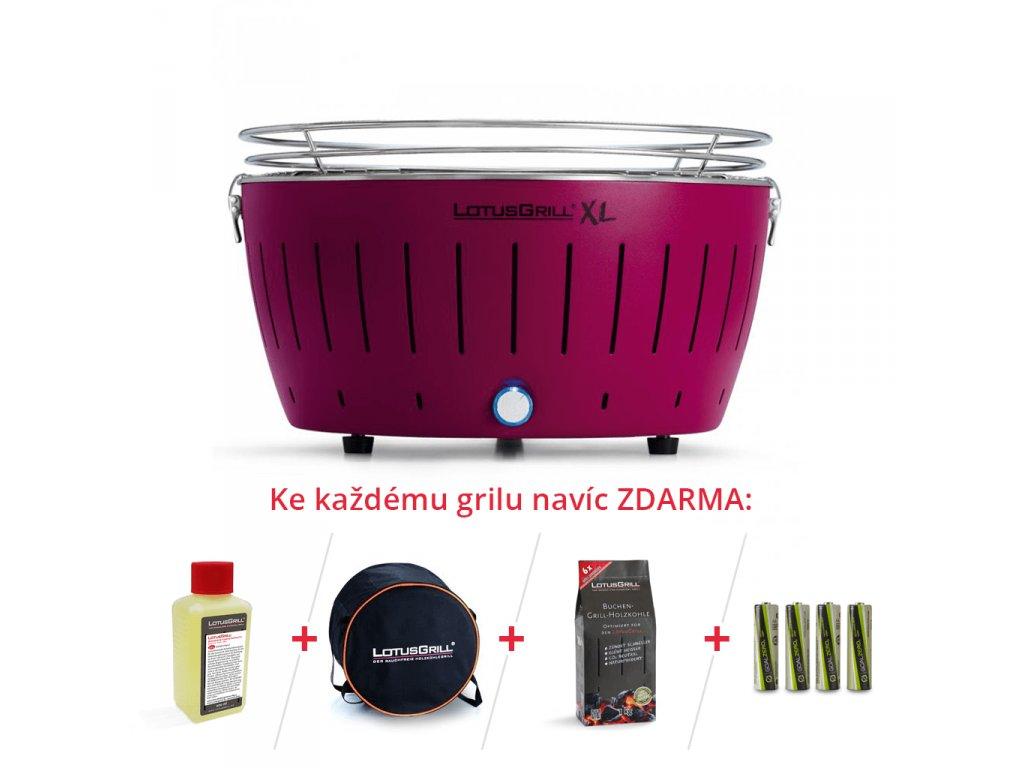 LotusGrill XL fialový + 1kg dřevěného uhlí + gelový podpalovač + taška + sada baterií