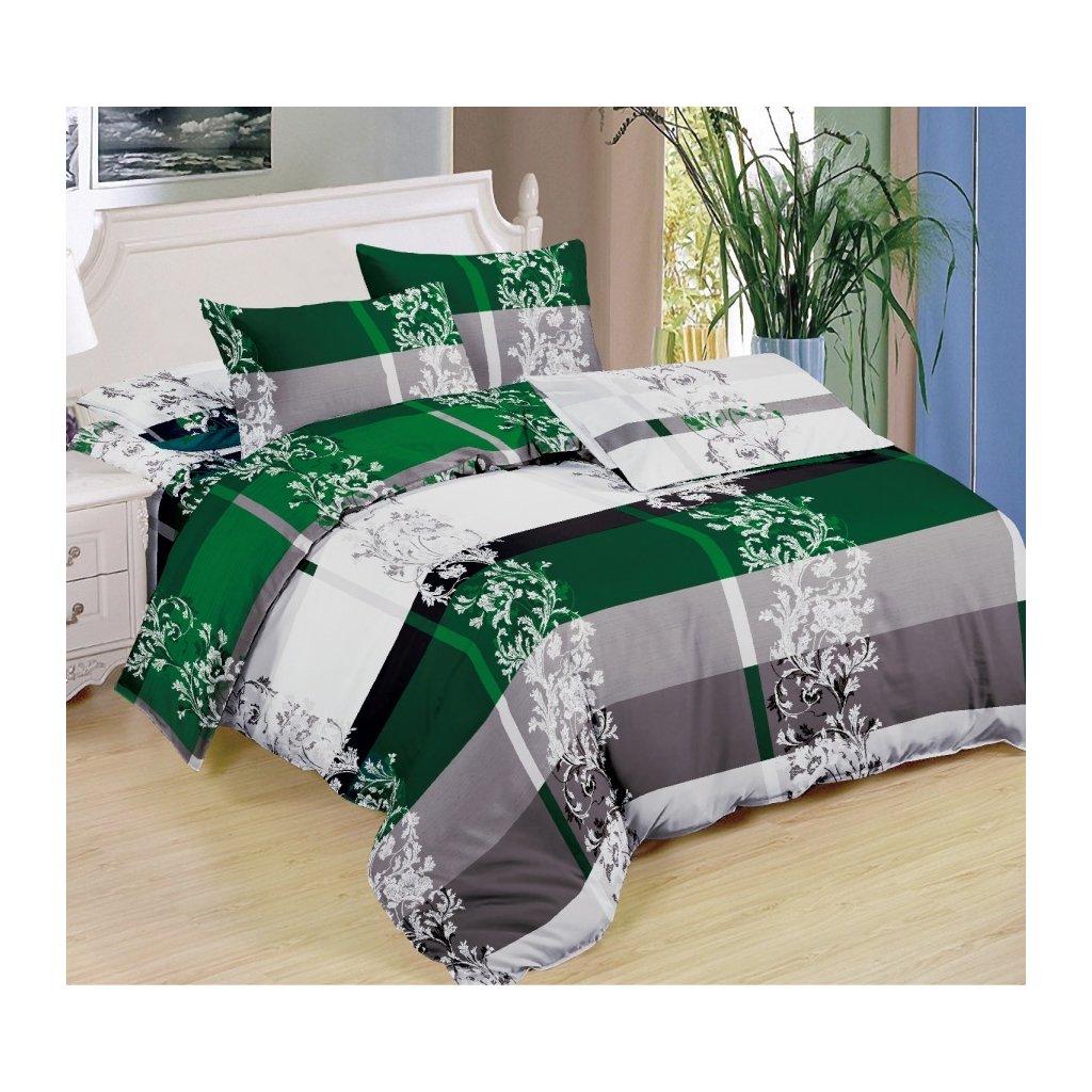 Sedmidílná souprava povlečení ornamenty bavlna/mikrovlákno zelená šedá bílá 140x200 na dvě postele