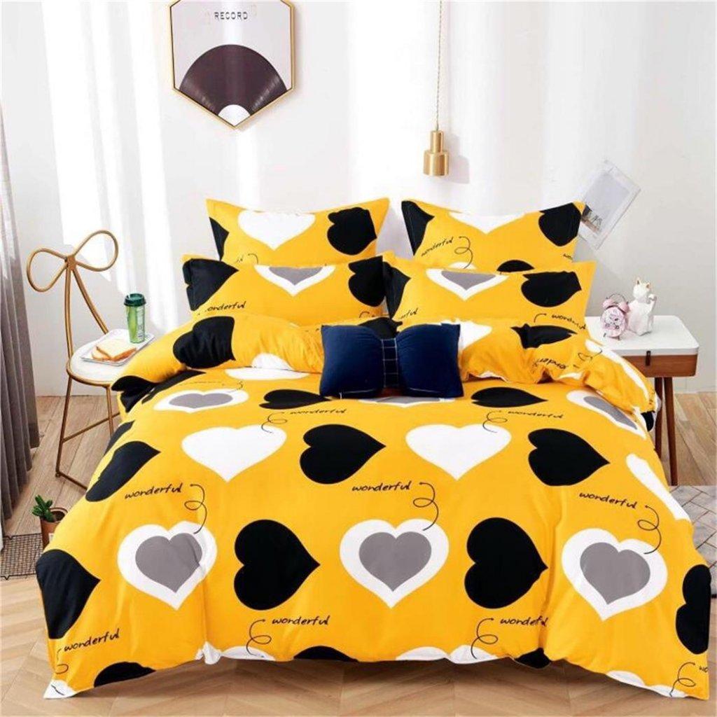 Sedmidílné povlečení srdce bavlna/mikrovlákno žlutá 140x200 na dvě postele