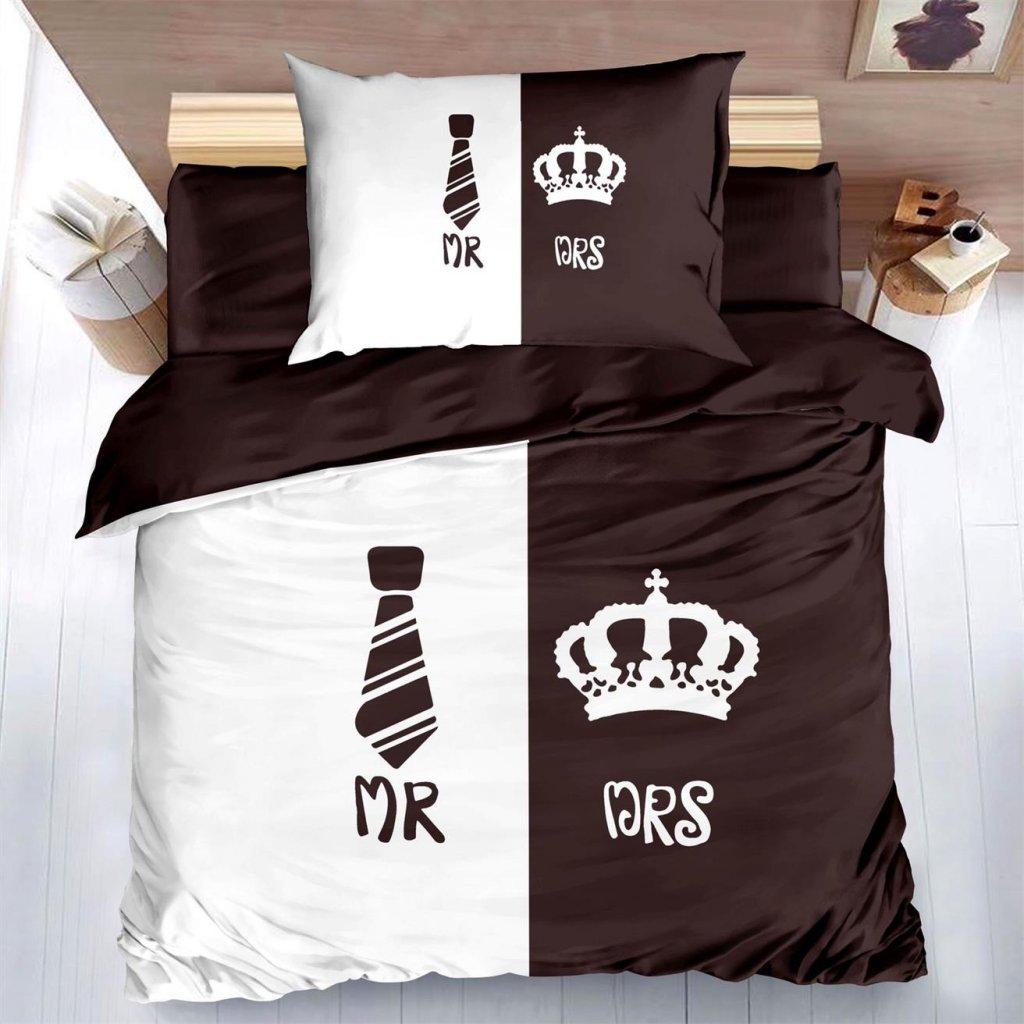 2-dílné povlečení Mr & Mrs 3 D hnědá 140x200 na jednu postel