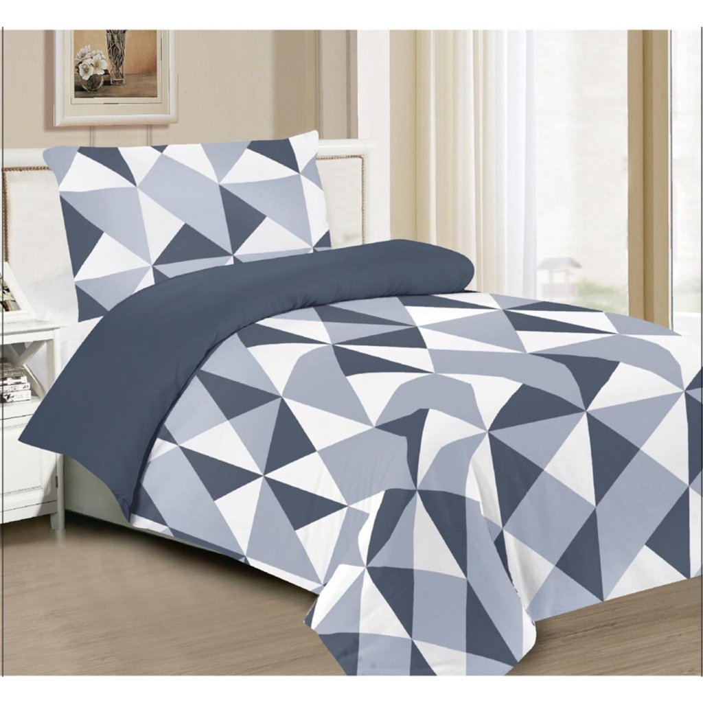 Dvoudílné povlečení trojúhelníky šedá 140x200