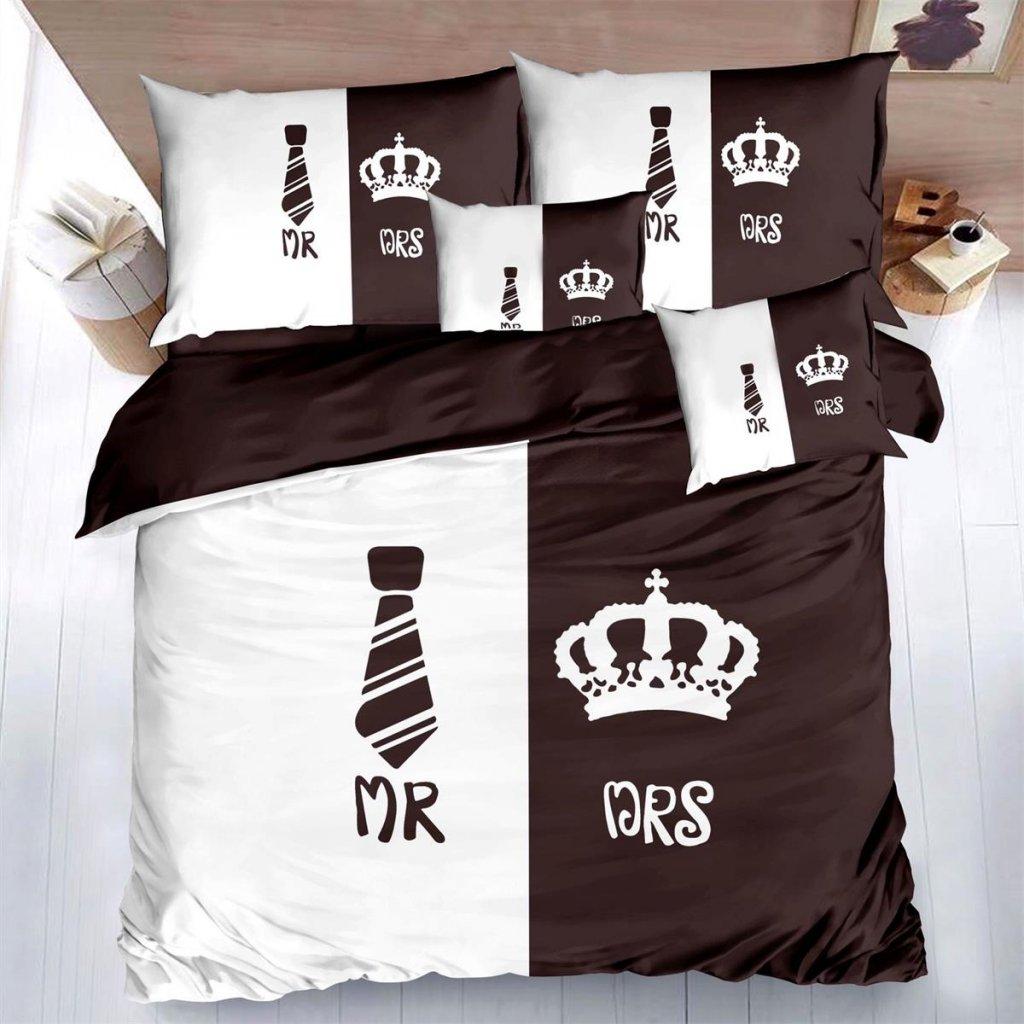 Sedmidílné povlečení Mr & Mrs 140x200 na dvě postele