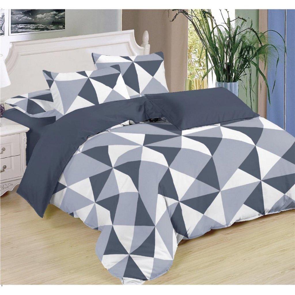 Sedmidílné povlečení trojúhelníky bavlna/mikrovlákno šedá 140x200 na dvě postele