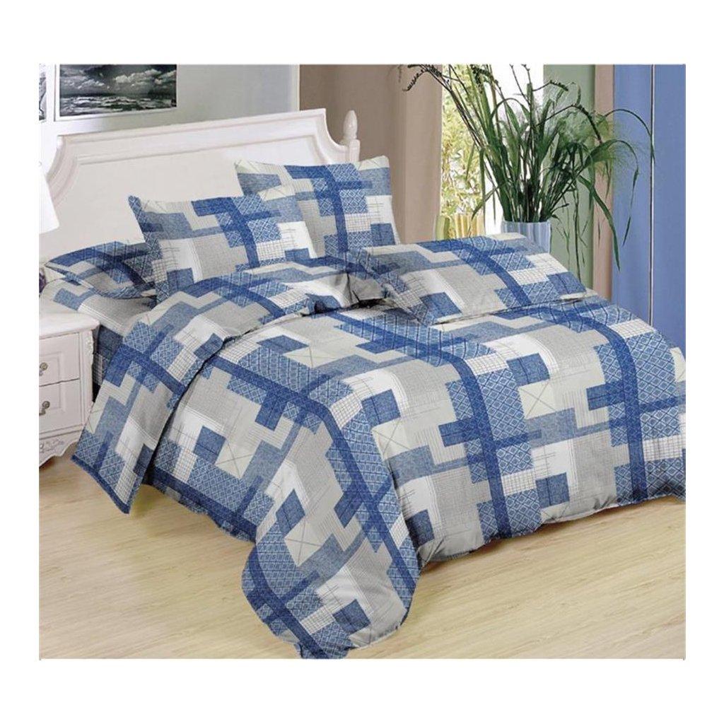 Sedmidílné povlečení geom.vzory bavlna/mikrovlákno modrá šedá 140x200 na dvě postele