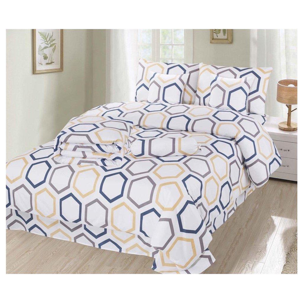 Osmidílné povlečení šestiúhelníky bavlna/mikrovlákno 140x200 na dvě postele