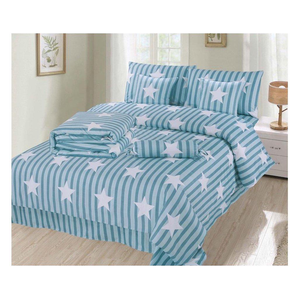 Osmidílné povlečení pruhy a hvězdy bavlna/mikrovlákno 140x200 na dvě postele