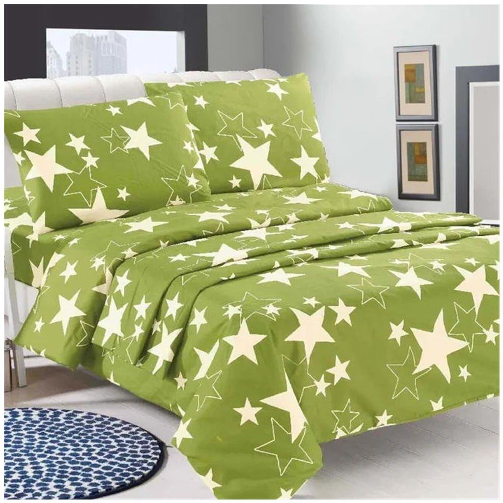 Pětidílné povlečení hvězdy zelená 140x200
