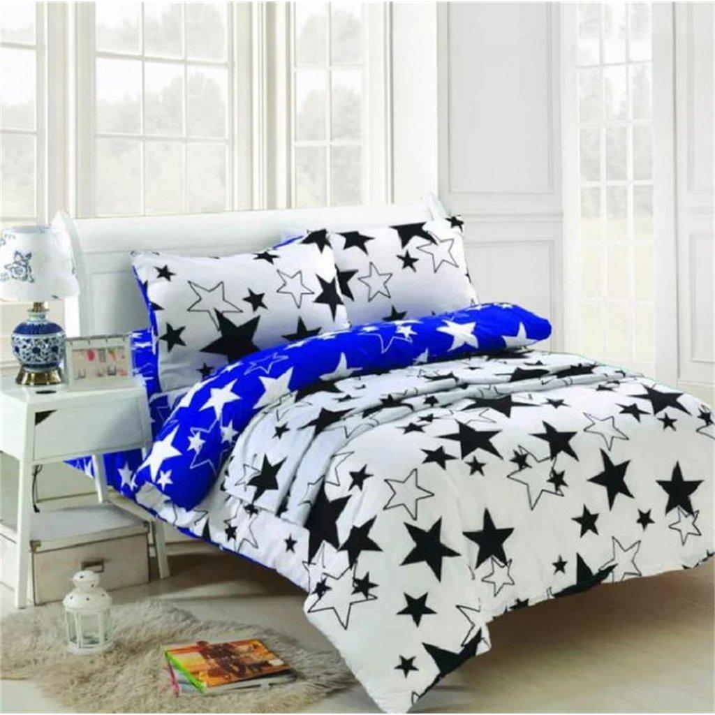 Pětidílní povlečení hvězdy bílá modrá 140x200