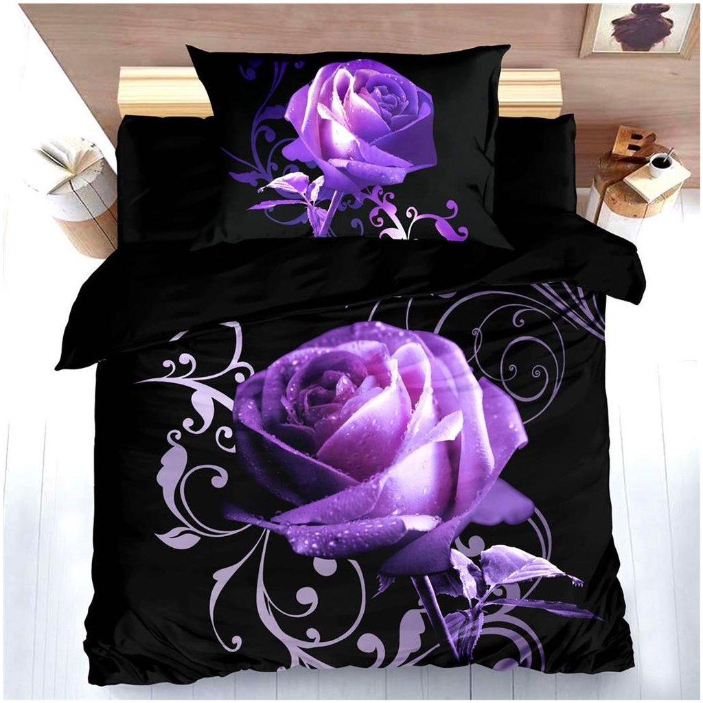 Dvoudílné povlečení 3D růže černá fialová