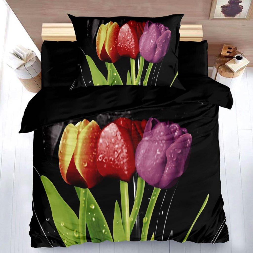 Dvoudílné povlečení 3D tulipány černá