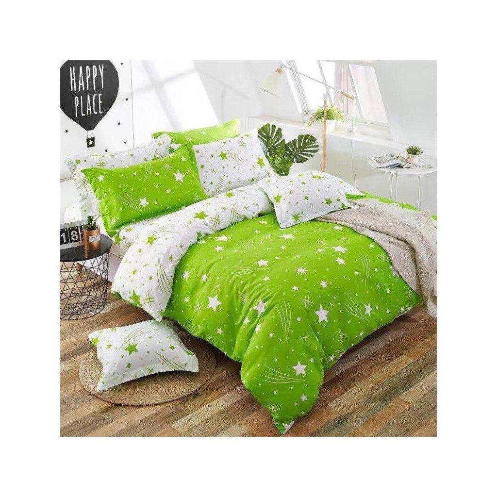 Sedmidílné povlečení obloha bavlna/mikrovlákno zelená bílá 140x200 na dvě postele