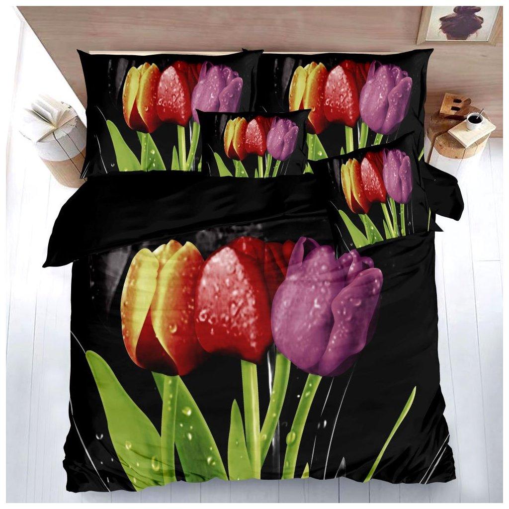Sedmidílné povlečení 3 D tulipány černá 140x200 na dvě postele