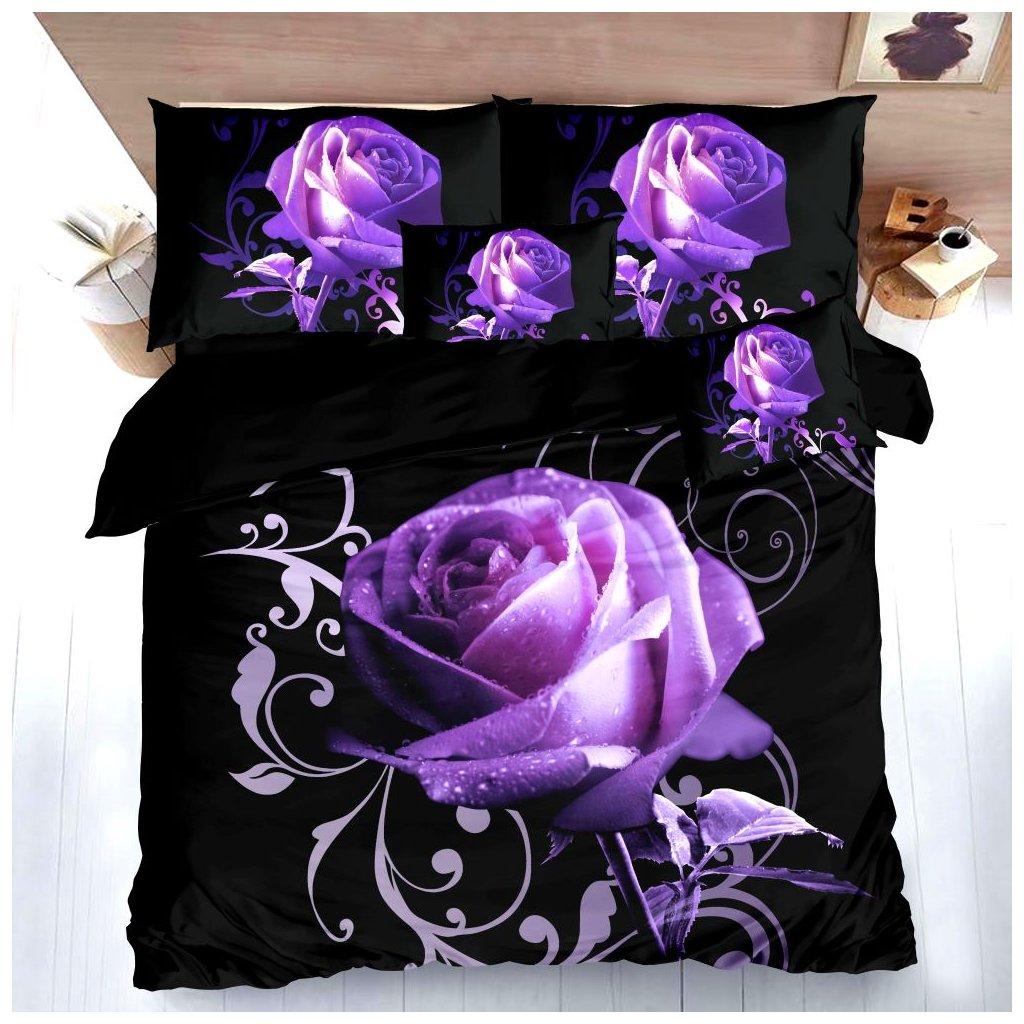 Sedmidílné povlečení 3 D růže fialová 140x200 na dvě postele