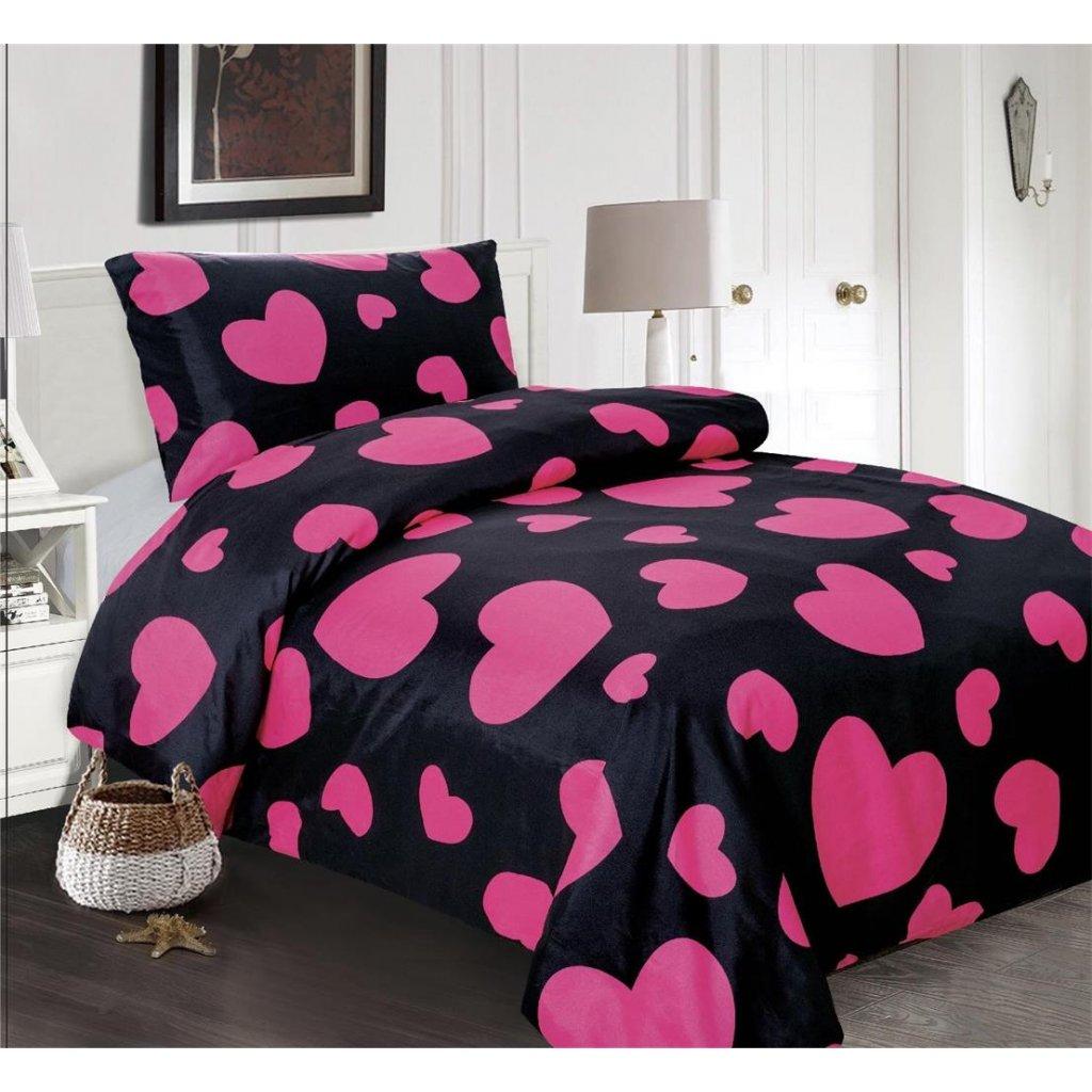 Povlečení srdce černá růžová 140x200 na jednu postel