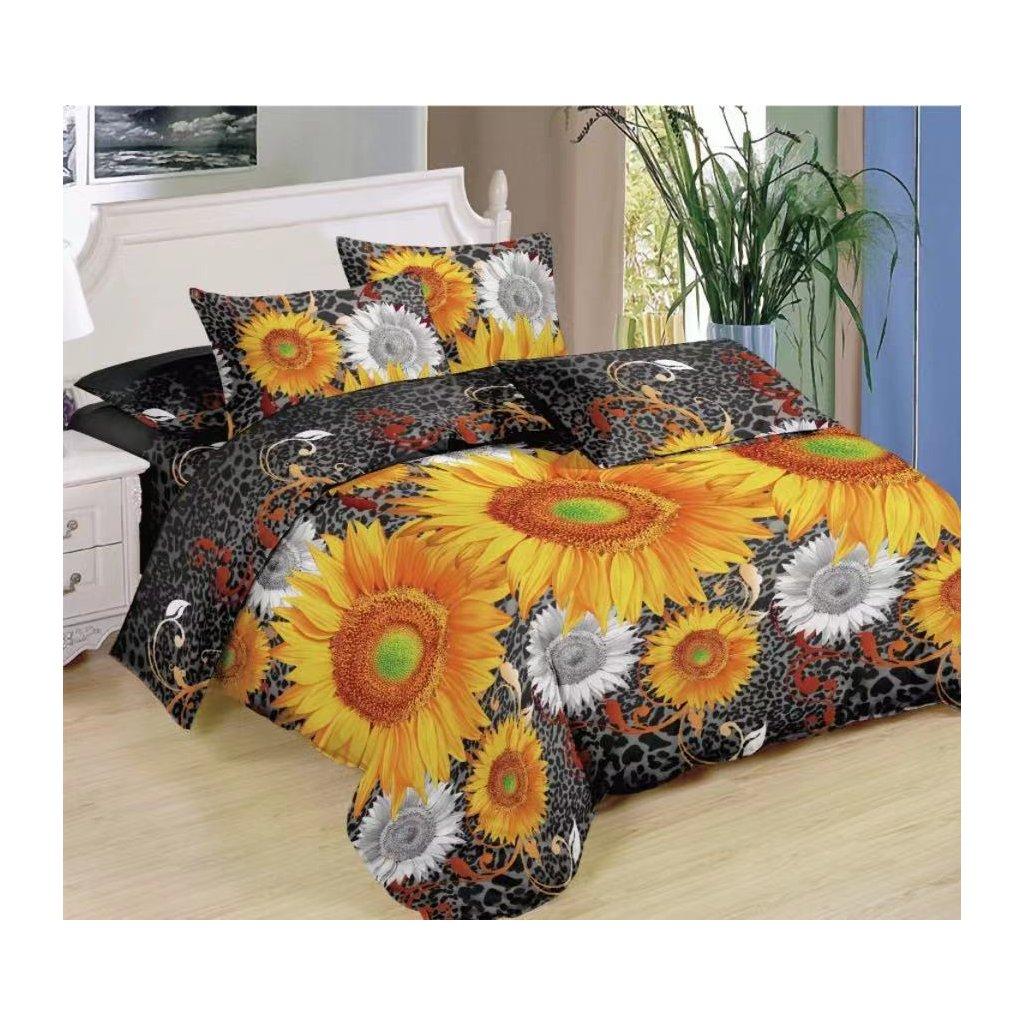 Sedmidílná povlečení 3 D slunečnice 140x200 na dvě postele