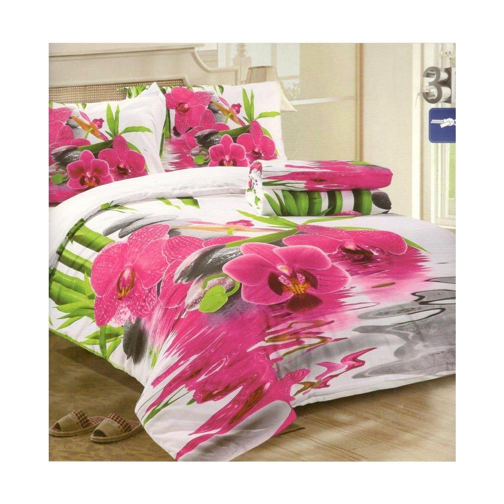 Čtyřdílné povlečení orchidej 3 D 140 x 200 na dvě postele